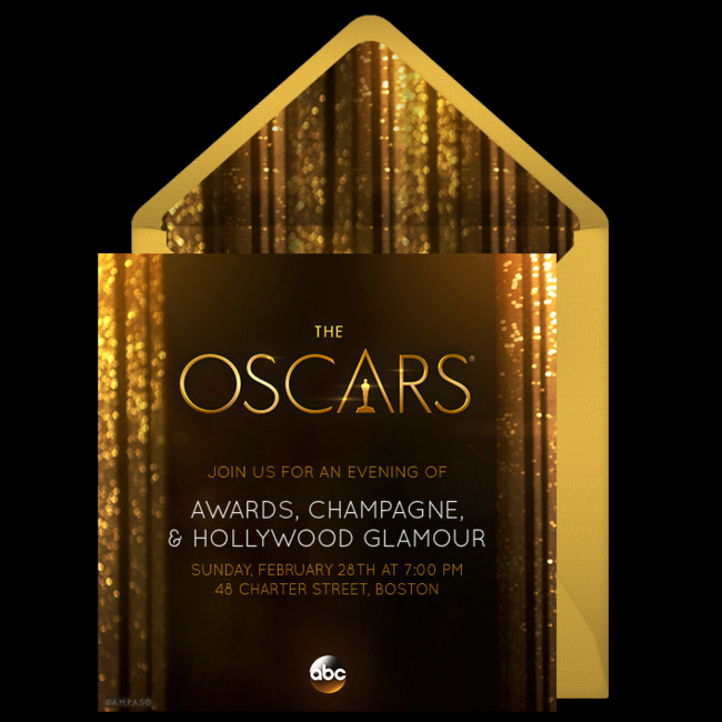 Academy Award Envelope Template Unique Free Oscars Invitations for the 2016 Academy Awards