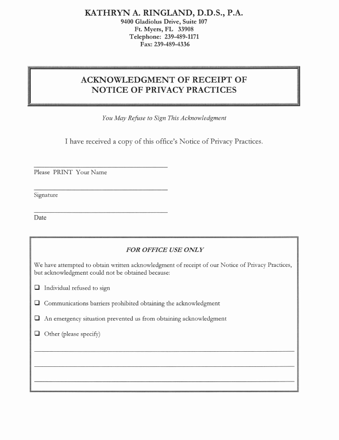 Acknowledgement Of Receipt Of Notice Of Privacy Practices Elegant Dental forms