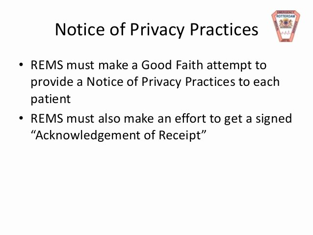 Acknowledgement Of Receipt Of Notice Of Privacy Practices form Beautiful Rems Hipaa