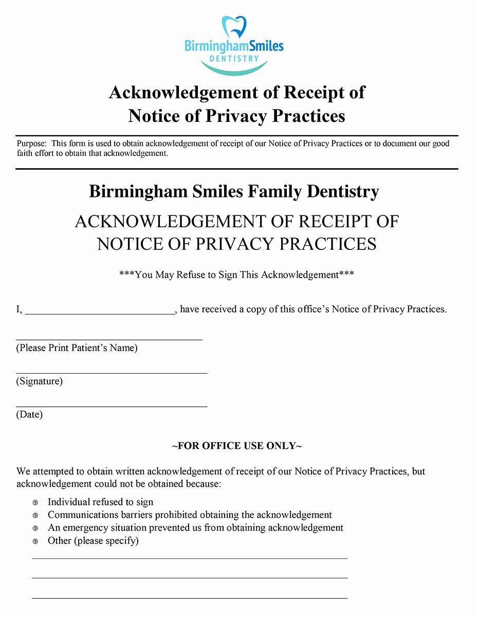 Acknowledgement Of Receipt Of Notice Of Privacy Practices form Best Of Patient forms Birmingham Smiles Dentistry