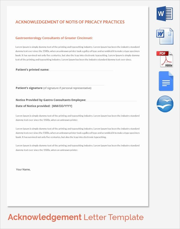Acknowledgement Of Receipt Of Notice Of Privacy Practices form Inspirational Sample Acknowledgement Of Service form 22 Download