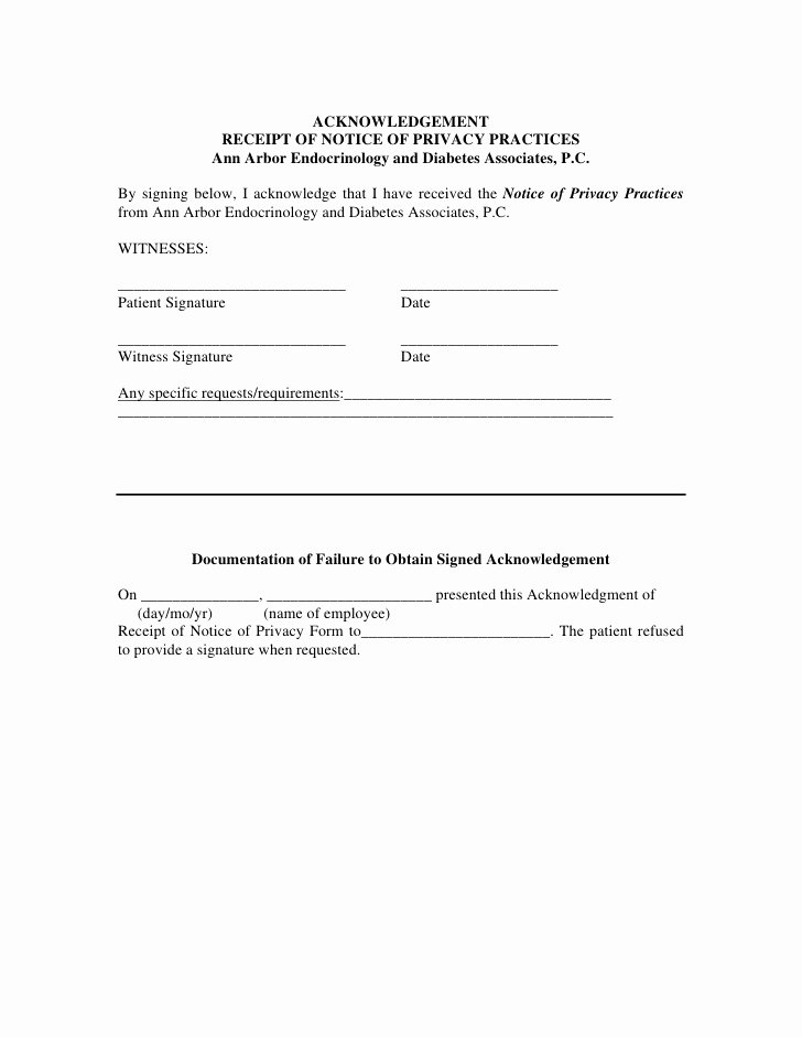 Acknowledgement Of Receipt Of Notice Of Privacy Practices form Unique Patient Authorization for Use Disclosure Of Health Care