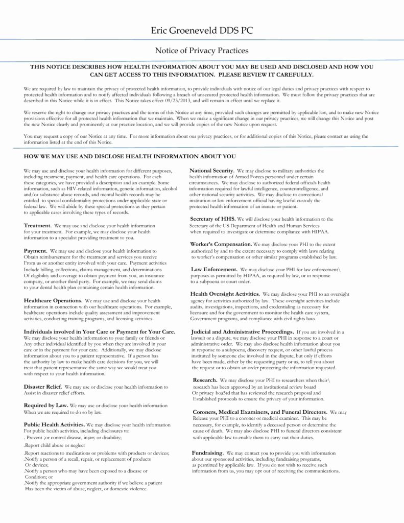Acknowledgement Of Receipt Of Notice Of Privacy Practices Luxury Patient forms – Eric Groeneveld Dds