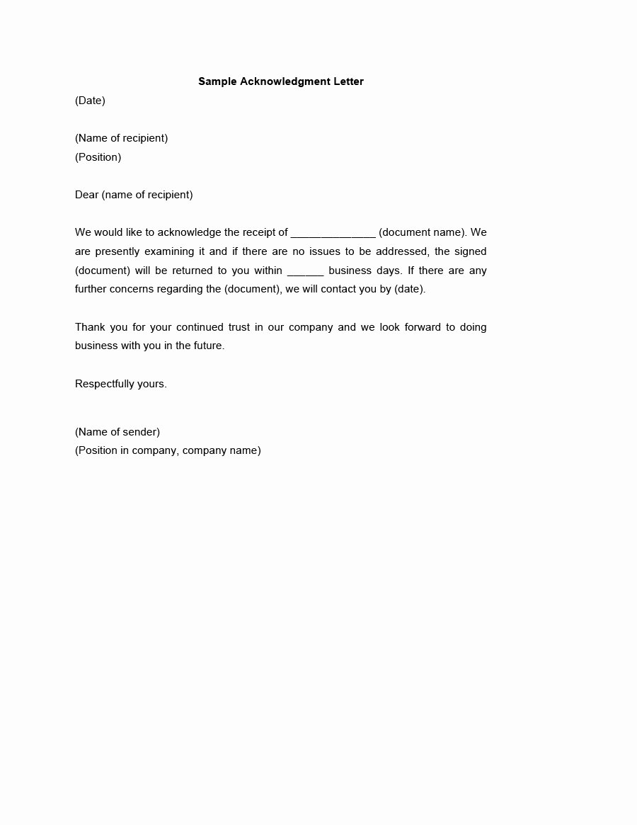 Acknowledgment Receipt Of Documents Awesome 41 Best Acknowledgement Samples & Examples Template Lab