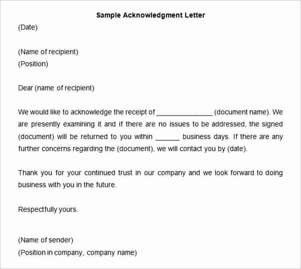 Acknowledgment Receipt Of Documents Lovely 39 Acknowledgement Letter Templates Pdf Doc