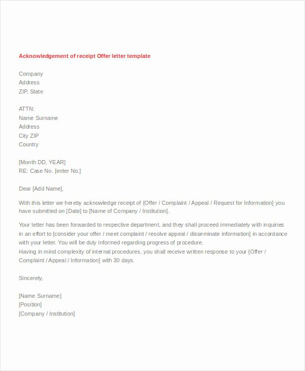 Acknowledgment Receipt Of Documents Lovely Letter Of Acknowledgement Of Receipt Of Goods Sample Of