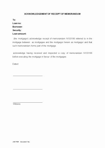Acknowledgment Receipt Of Documents New Acknowledgement Of Receipt Of Memorandum Wa