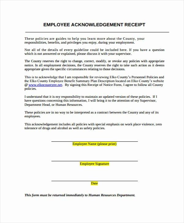 Acknowledgment Receipt Of Documents Unique Acknowledgement Receipt Template 11 Free Word Pdf