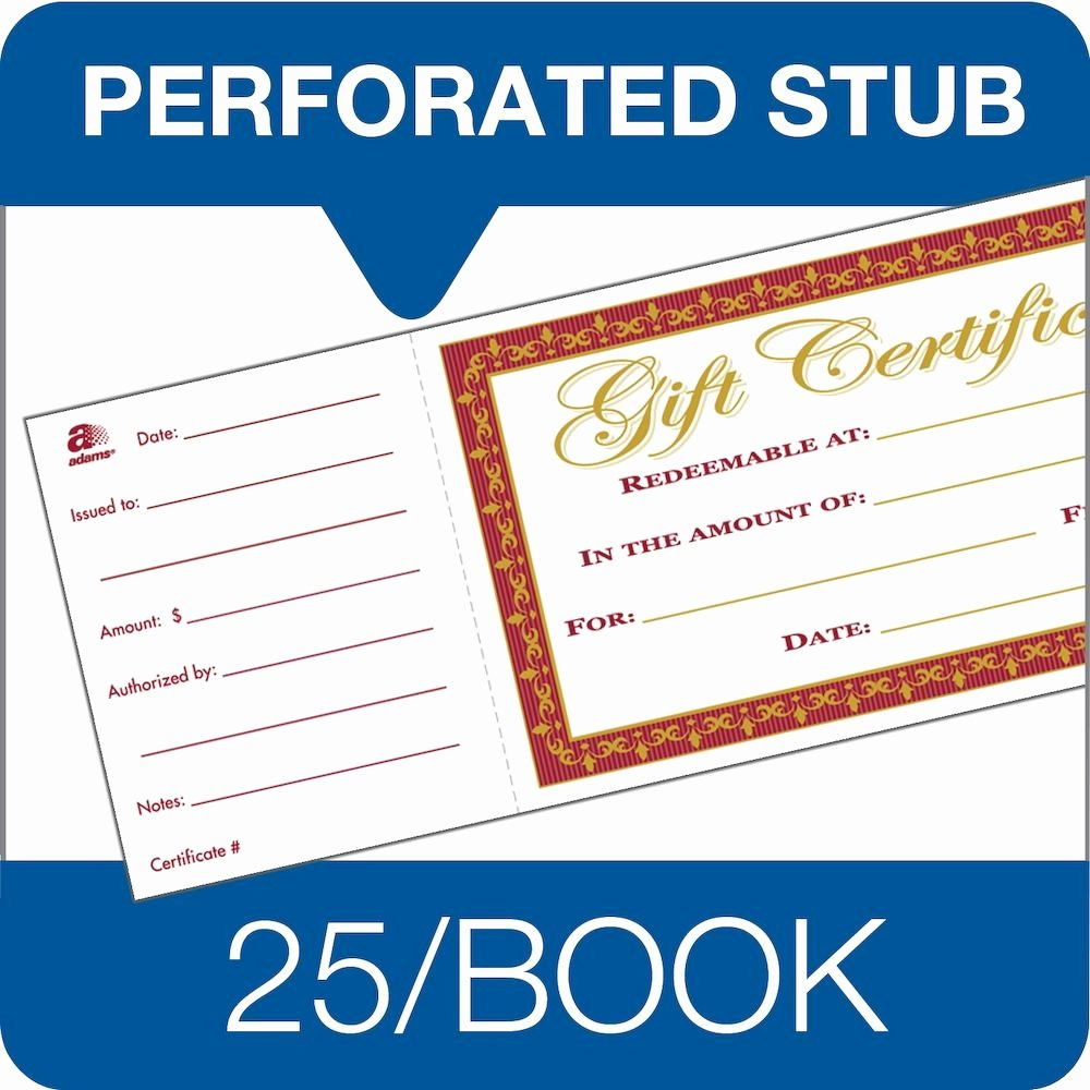 Adams Gift Certificate Template Awesome Adams Gift Certificate Book Single Paper 25 Numbered