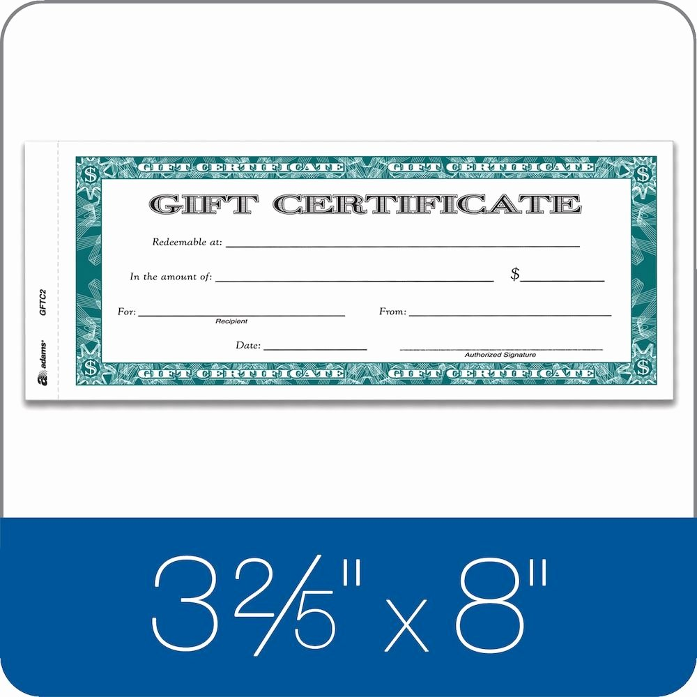 Adams Gift Certificate Template Inspirational Adams Gift Certificate 2 Part Carbonless 25 Numbered