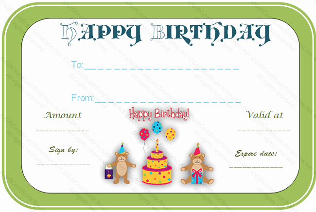 Adams Gift Certificate Template Word Awesome Bear Birthday Gift Certificate Template Gift Certificates