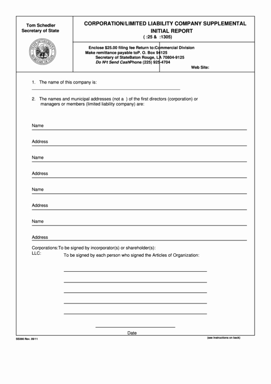 form ss366 corporation limited liability pany supplemental initial report 2011
