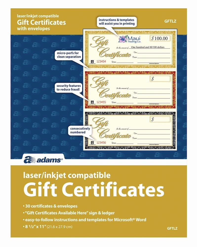 Adams Gift Certificate Template Word Fresh Gift Certificate Laser 3 Up 30 Per Pack