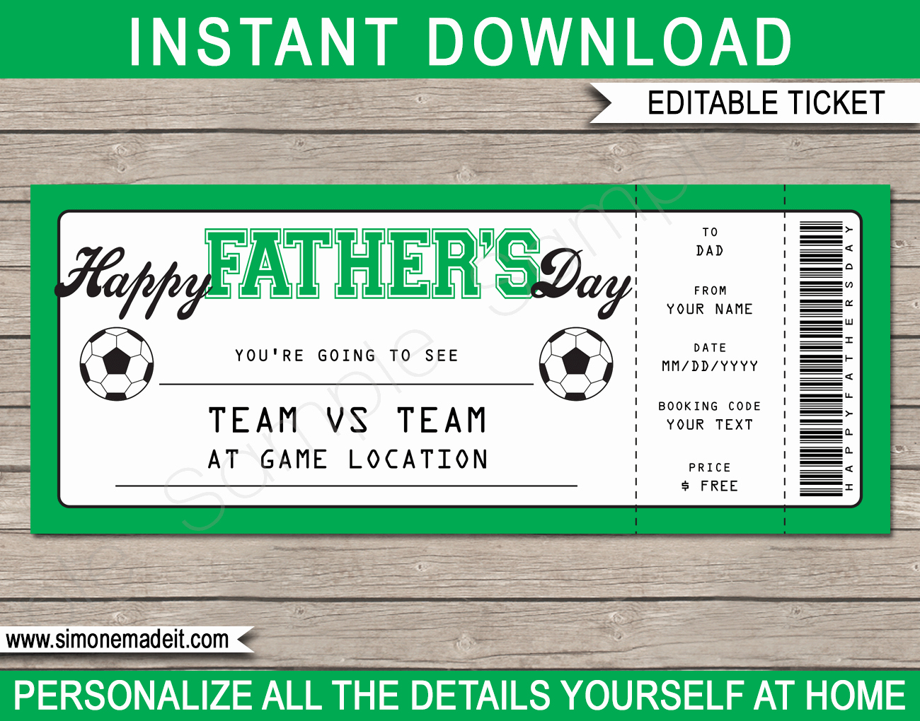 Adams Gift Certificate Template Word Luxury Father S Day soccer Ticket Gift Voucher