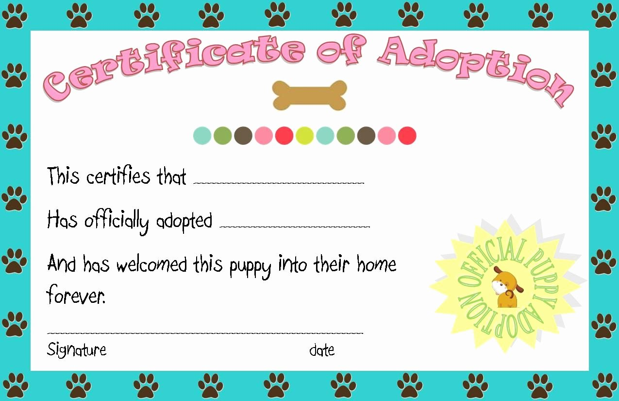 Adopt A Pet Certificate Template Beautiful Puppy Party Adoption Certificate Printable Angie