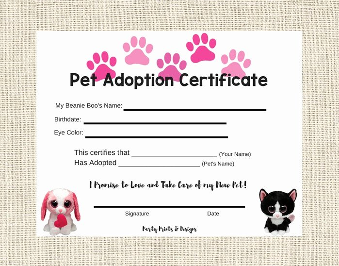 Adopt A Pet Certificate Template Luxury Pet Adoption Certificate Instant Download by
