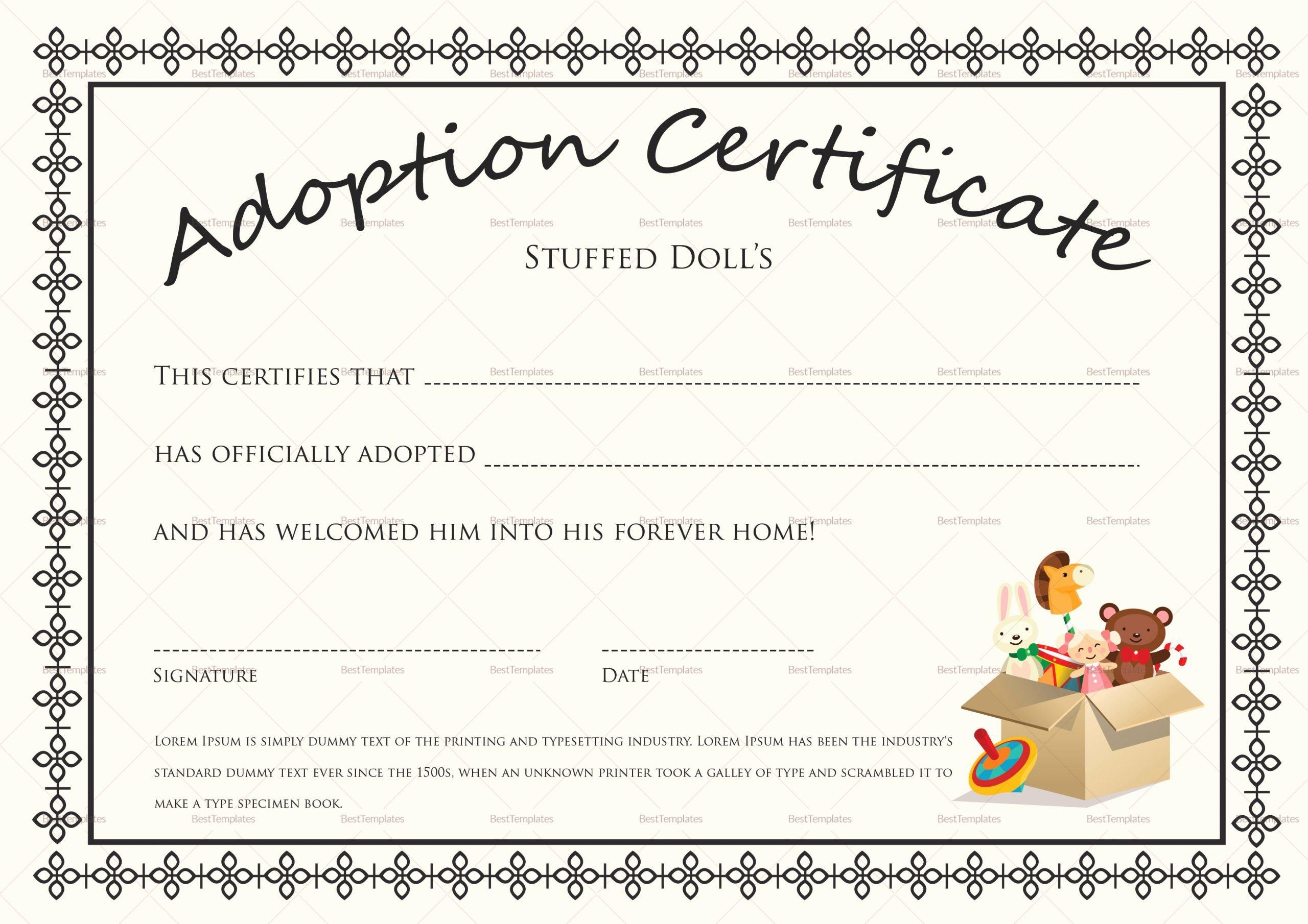 Adopt A Pet Certificate Template New Doll Adoption Certificate Design Template In Psd Word