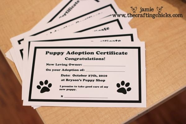 Adopt A Pet Certificate Template New Puppy Shop Party