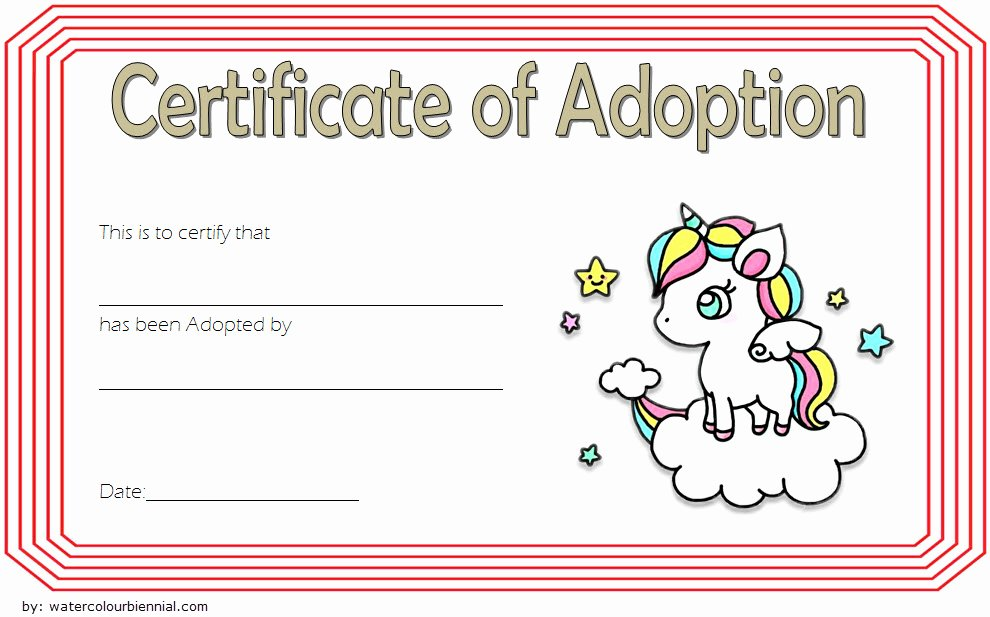 Adoption Certificate Template Word Best Of Unicorn Adoption Certificate Templates [7 Wonderful