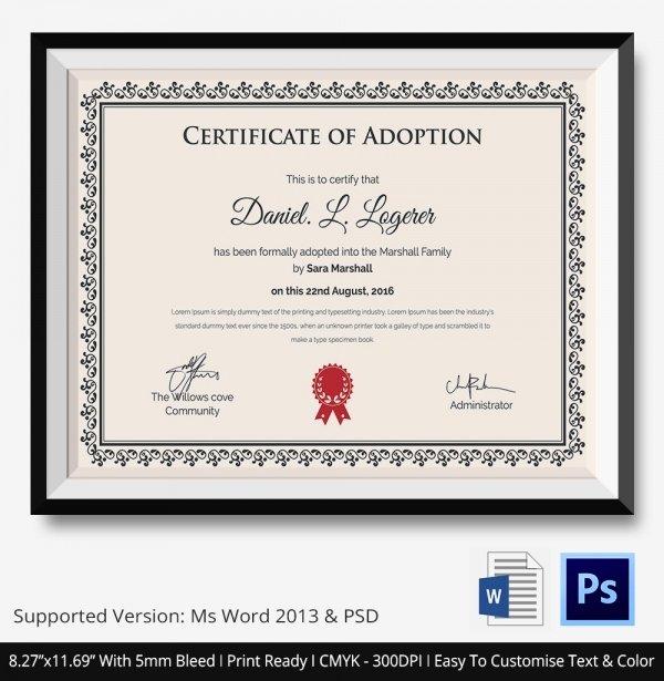 Adoption Certificate Template Word Elegant Adoption Certificate Template 12 Free Pdf Psd format