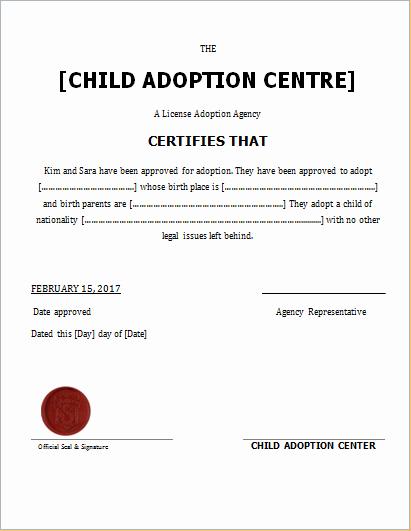 Adoption Certificate Template Word Elegant Child Adoption Certificate Template for Word