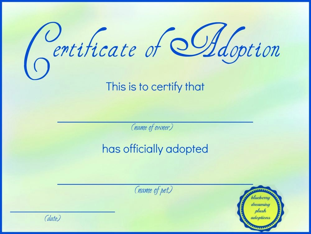 Adoption Certificate Template Word Fresh Printable Stuffed Animal Adoption Certificates