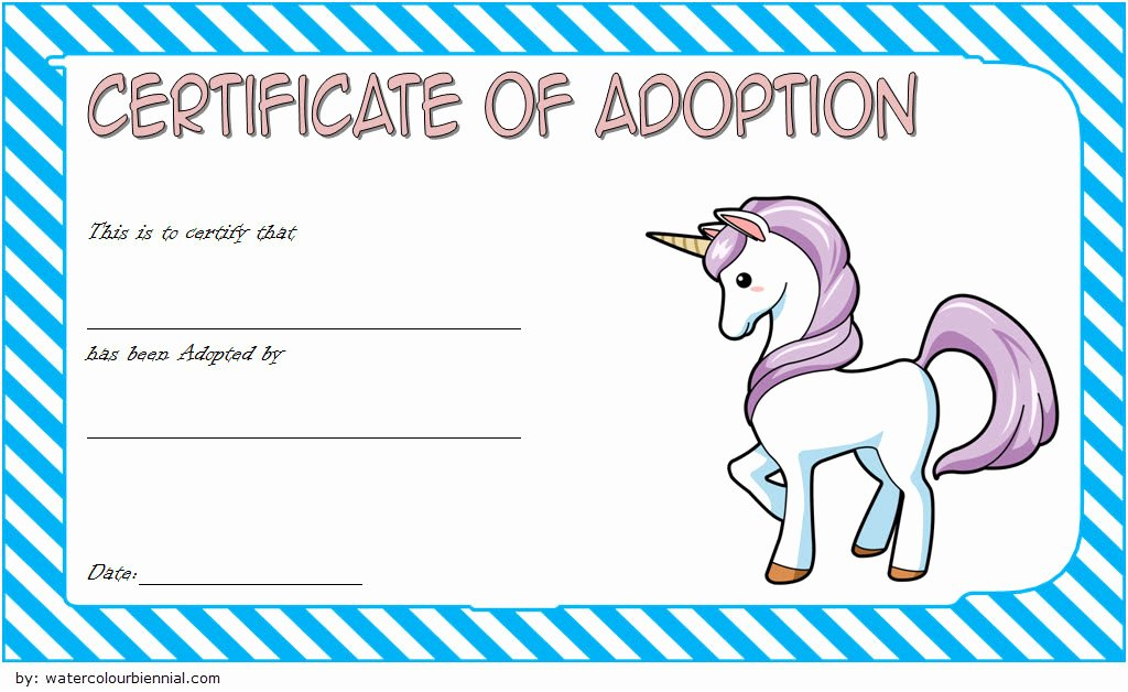 Adoption Certificate Template Word Inspirational Unicorn Adoption Certificate Templates [7 Wonderful