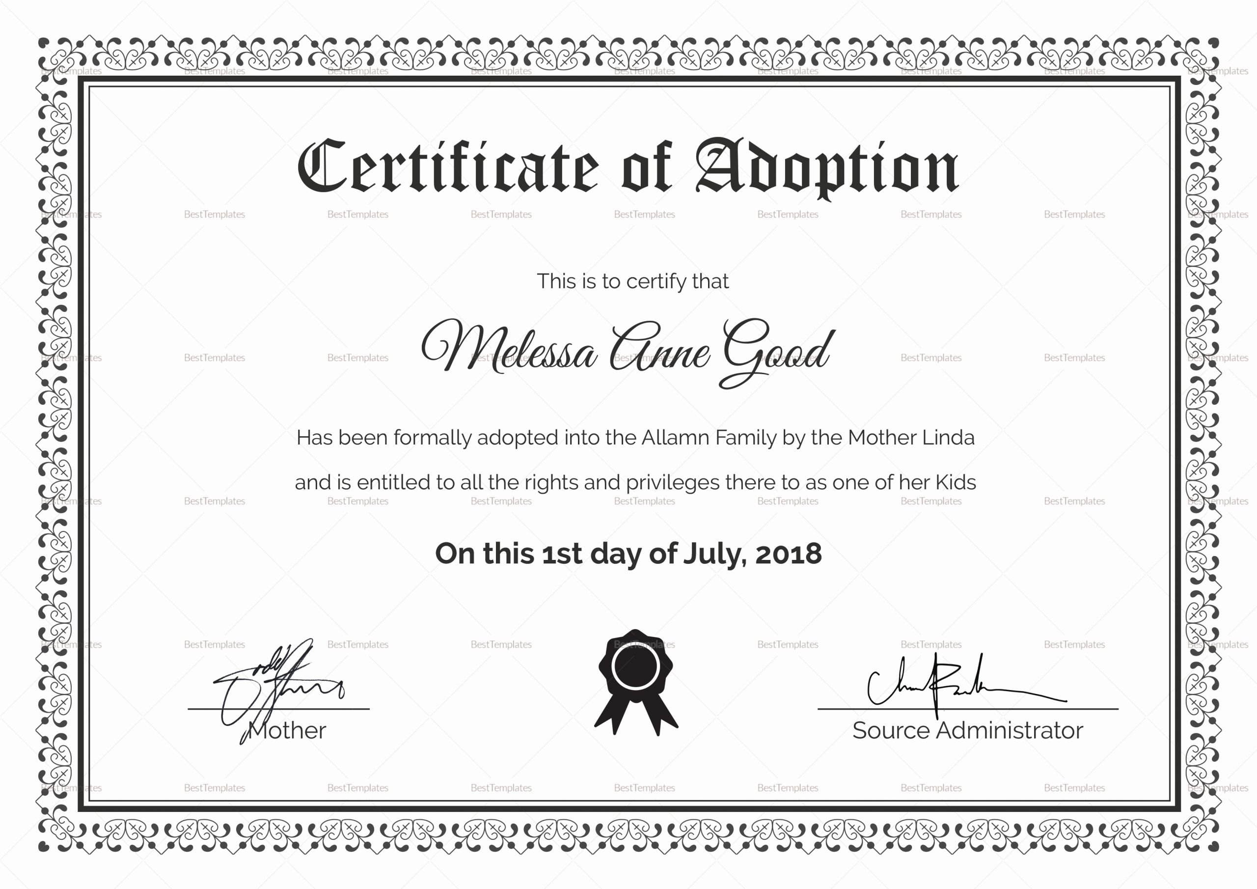 Adoption Certificate Template Word Lovely Adoption Certificate Design Template In Psd Word
