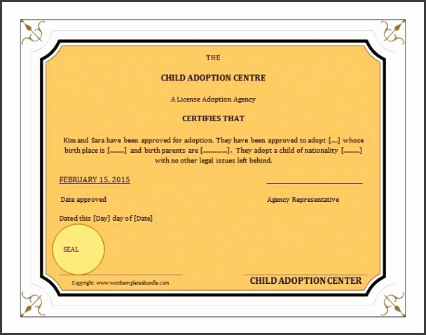 Adoption Certificate Template Word Luxury 7 Ms Word Birth Certificate Template Sampletemplatess