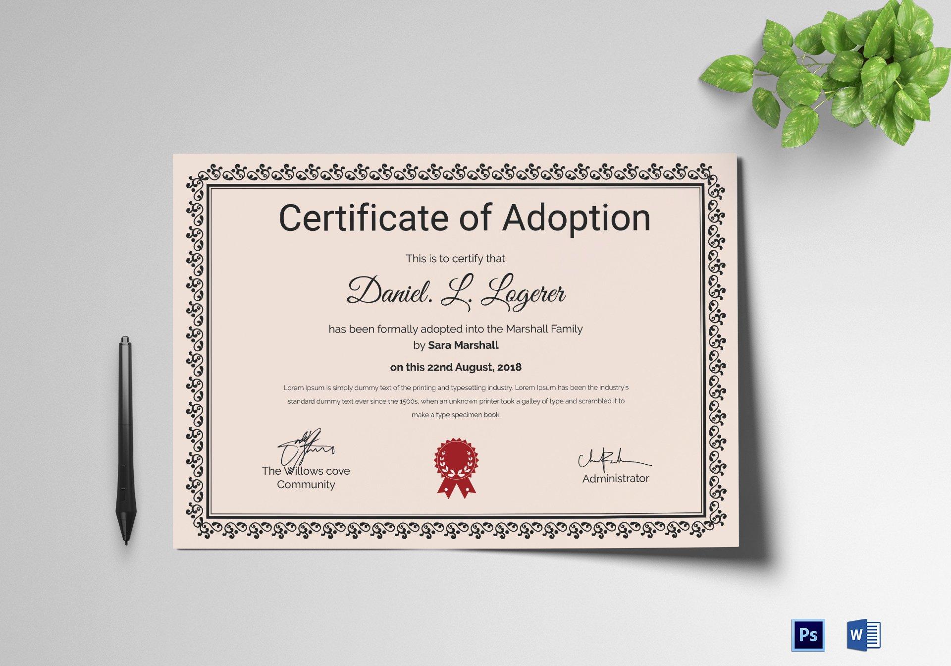 Adoption Certificate Template Word Unique Happy Adoption Certificate Design Template In Psd Word