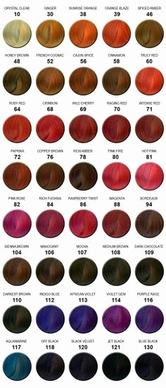 Adore Semi Permanent Hair Color Chart New Adore Hair Color Chart Colorful Hair