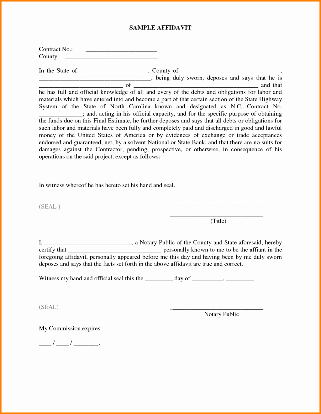 Affidavit Of Single Status Template Awesome Impressive Sample Of Affidavit form Template with some