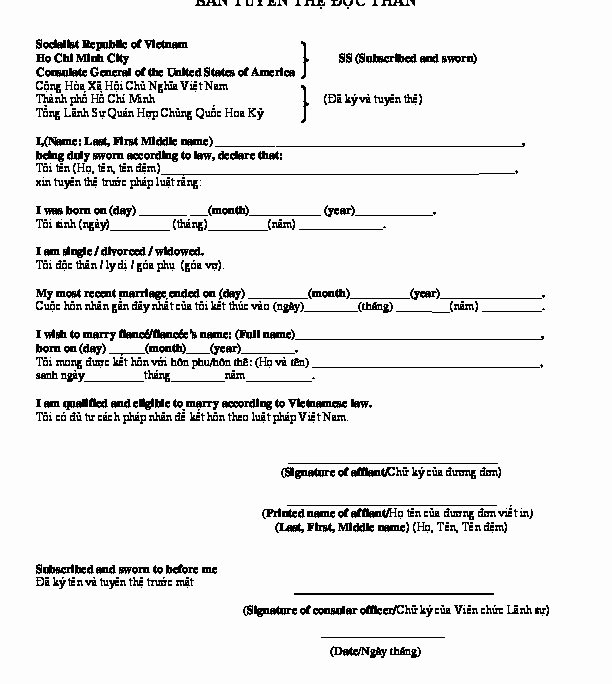 Affidavit Of Single Status Template Inspirational Blank and Sample Affidavit Single Status for Marriage In