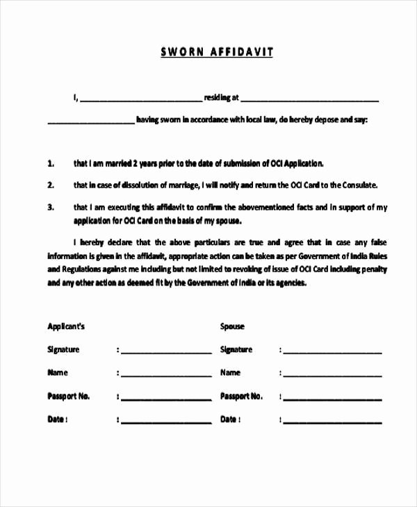Affidavit Of Single Status Template Luxury Free 49 Affidavit form In Template