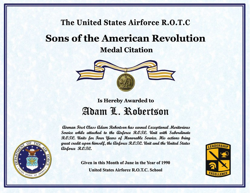 Air force Certificate Of Appreciation Template Elegant Individual Award Certificate Military Training Unit Awards