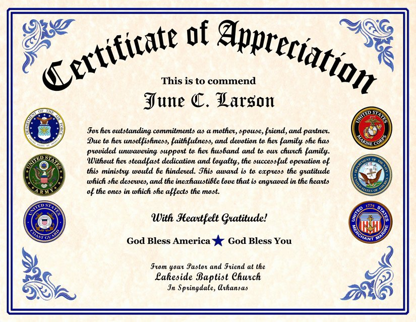 Air force Certificate Of Appreciation Template Elegant Military Veterans Appreciation Certificates