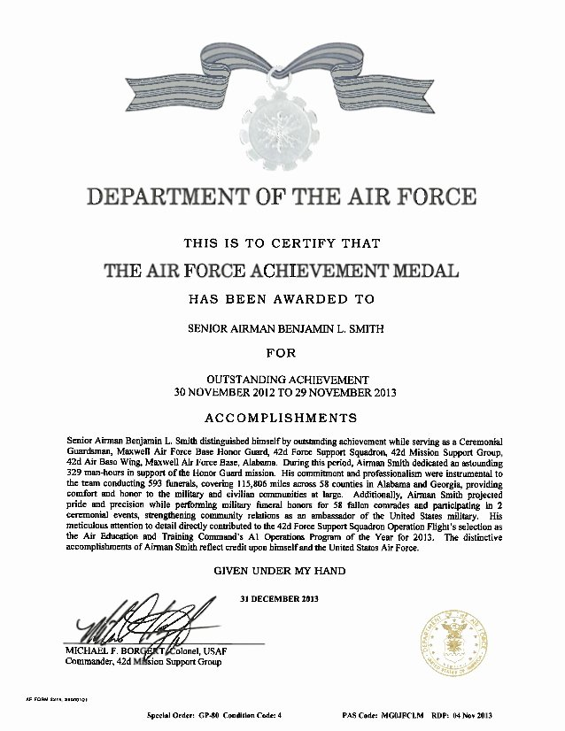 Air force Certificate Template Fresh Af Achievement Medal Pdf