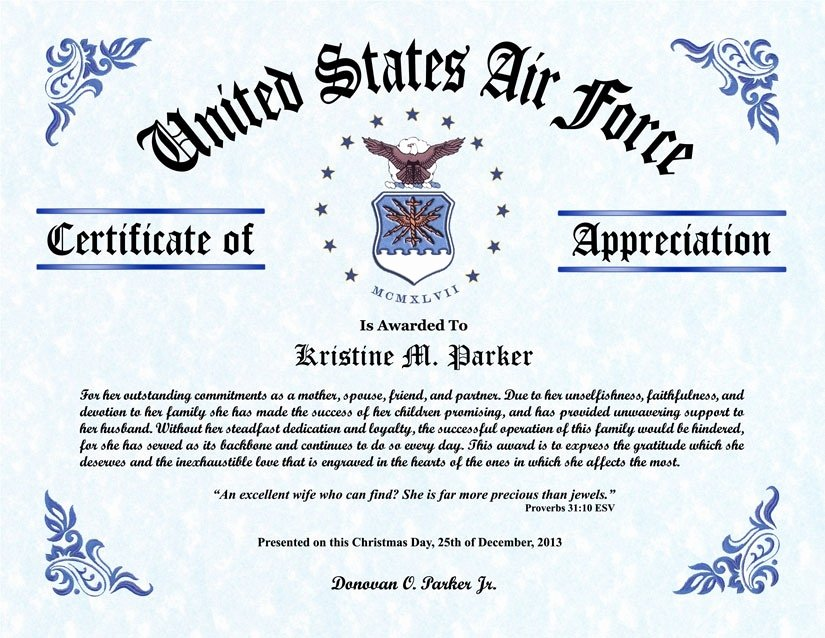 Air force Certificate Template New Certificate Appreciation Air force