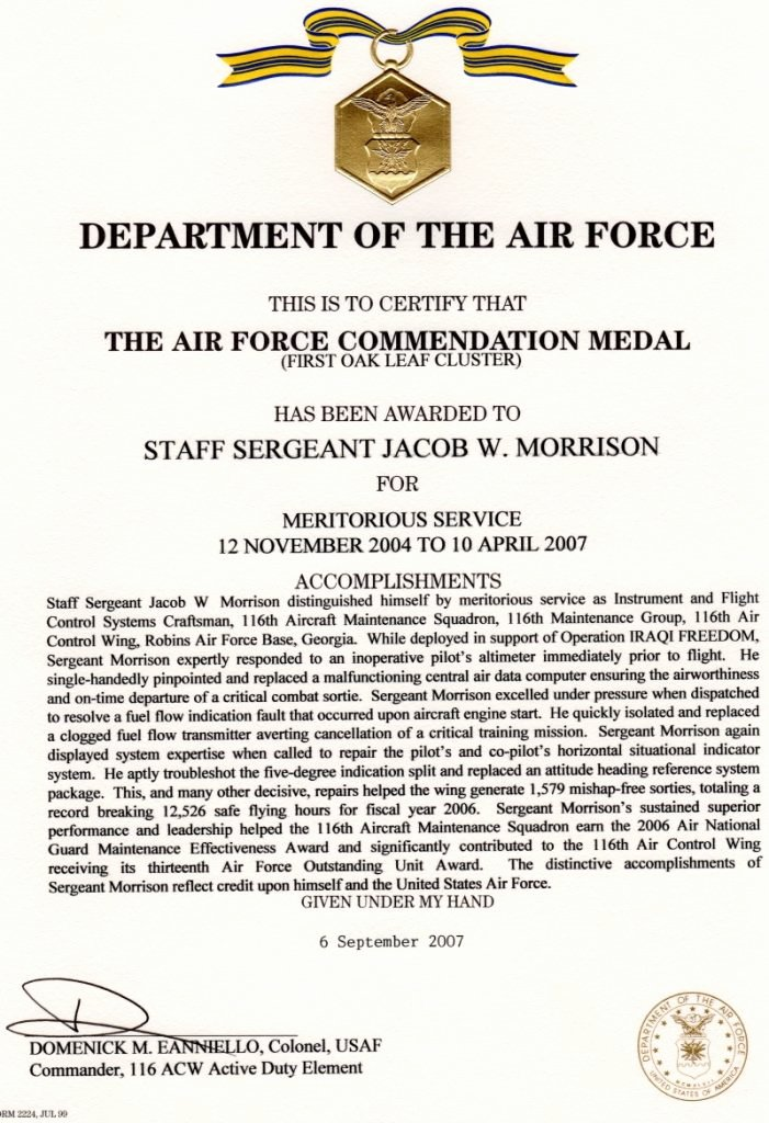 Air force Certificate Template New Recognition – Jacob Morrison