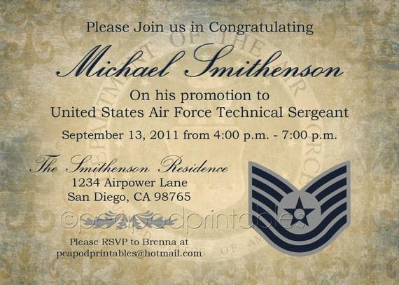 Air force Promotion Certificate Template Luxury Items Similar to Military Promotion Party Invitation Any