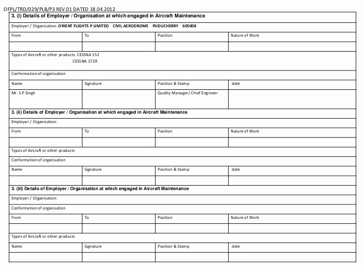 Aircraft Maintenance Logbook Entry Template Inspirational Ame Logbook