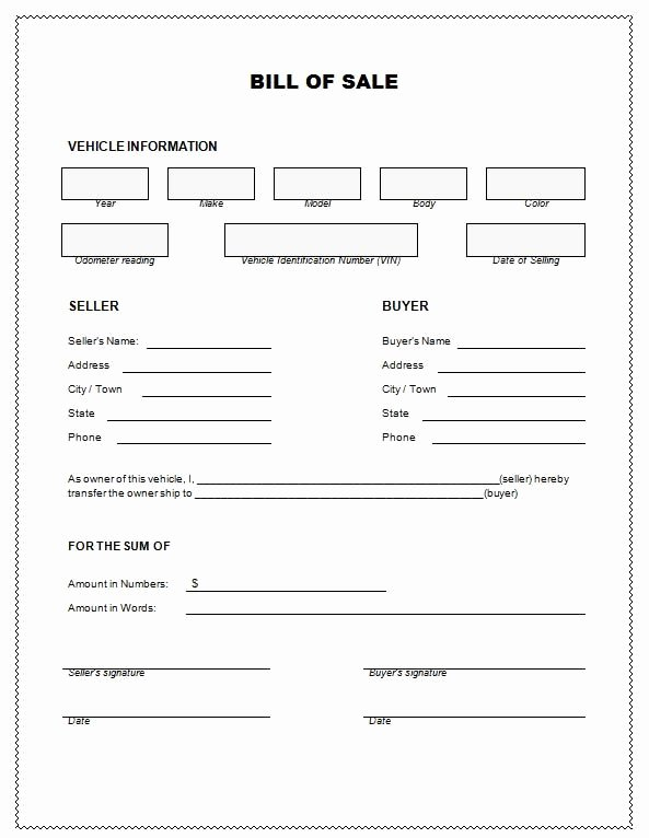 Alabama Bill Of Sale for Boat Awesome Bill Of Sale Bill Sale for Car Template