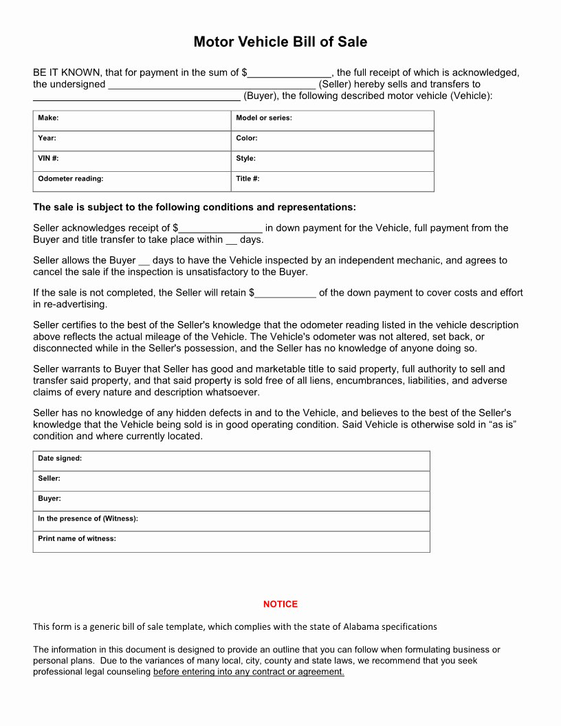 Alabama Bill Of Sale for Boat Best Of Free Alabama Vehicle Bill Of Sale form Download Pdf