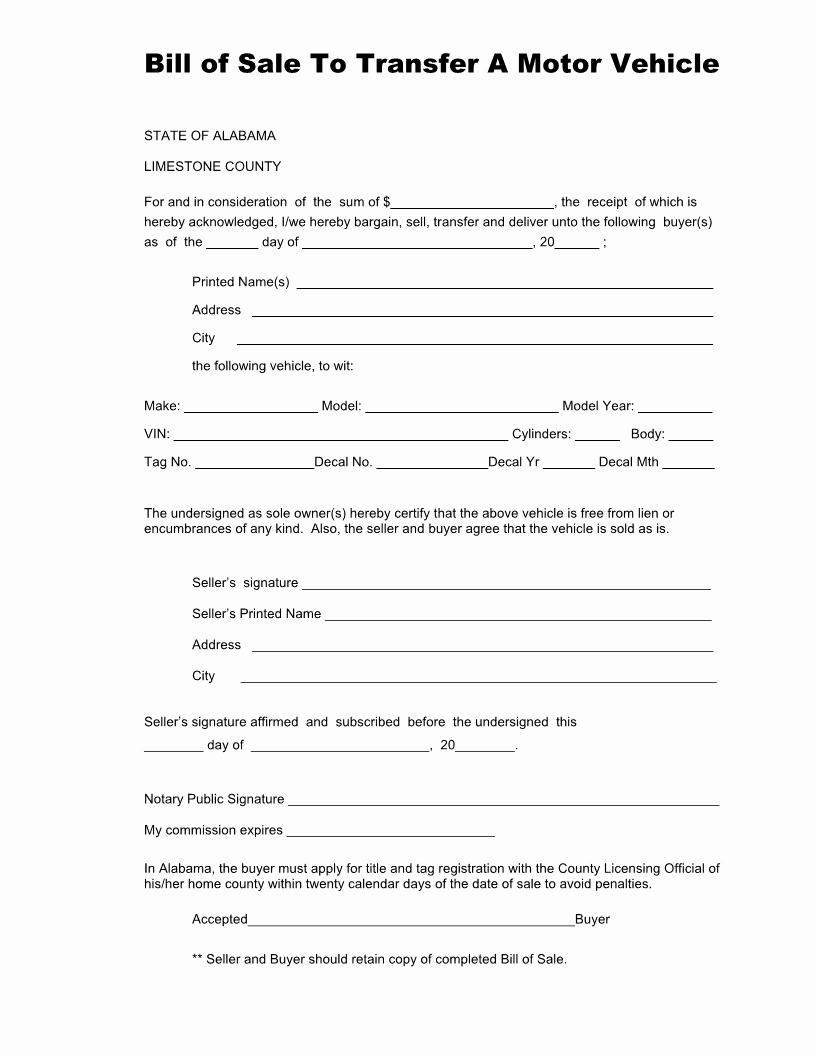 Alabama Bill Of Sale for Boat Fresh Free Alabama Vehicle Bill Of Sale form for Limestone