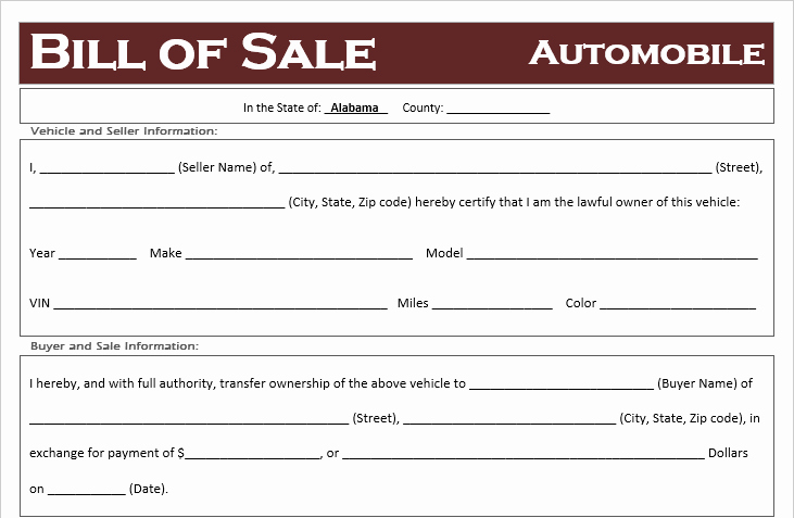 Alabama Bill Of Sale for Vehicle Inspirational Free Alabama Car Bill Of Sale Template F Road Freedom
