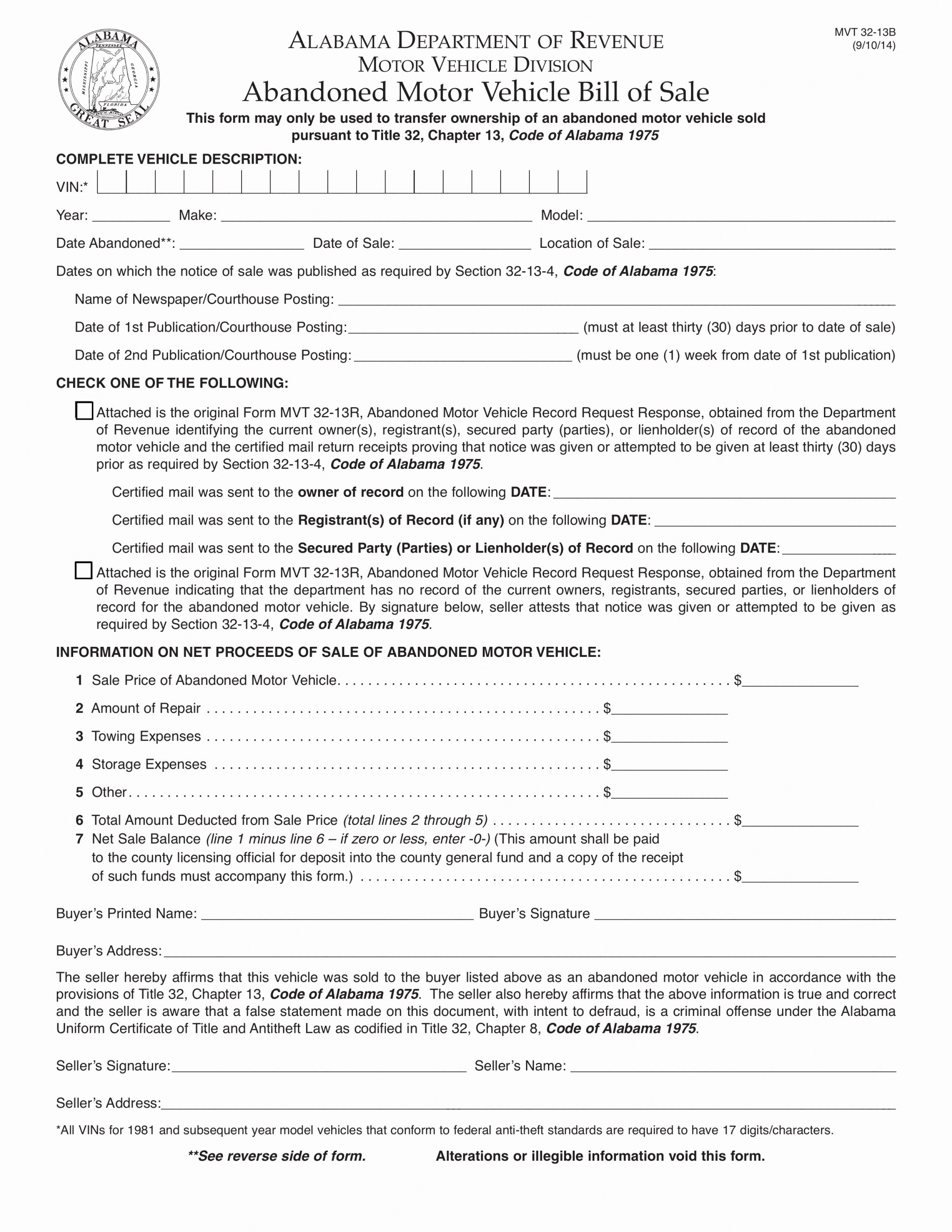Alabama Bill Of Sale for Vehicle Lovely Alabama Abandoned Motor Vehicle Bill Of Sale form
