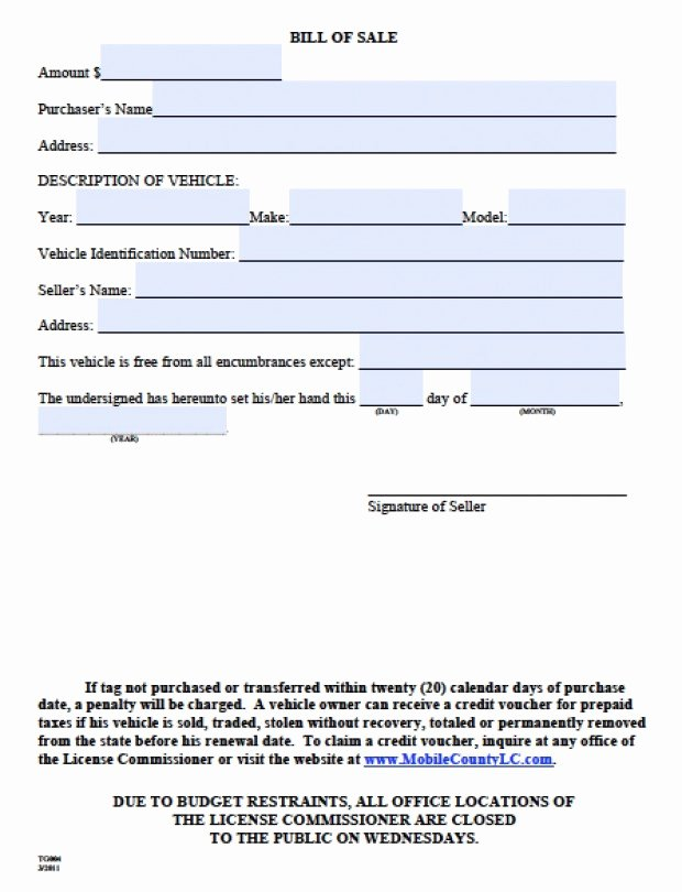 Alabama Bill Of Sale for Vehicle Unique Bill Sale Alabama