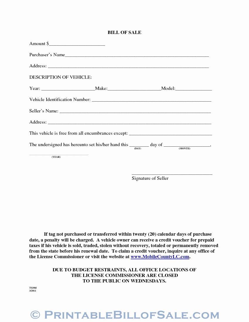Alabama Car Bill Of Sale Beautiful Free Mobile County Alabama Motor Vehicle Bill Of Sale form