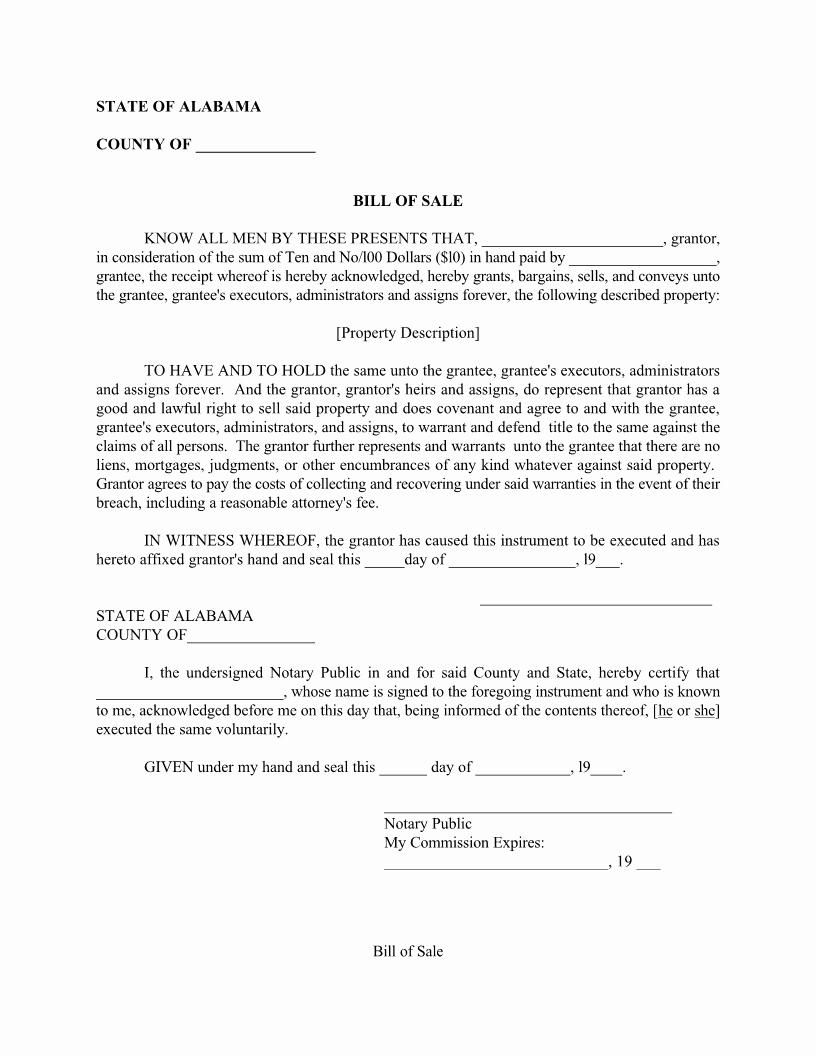 Alabama Car Bill Of Sale New Free Alabama Bill Of Sale form Download Pdf