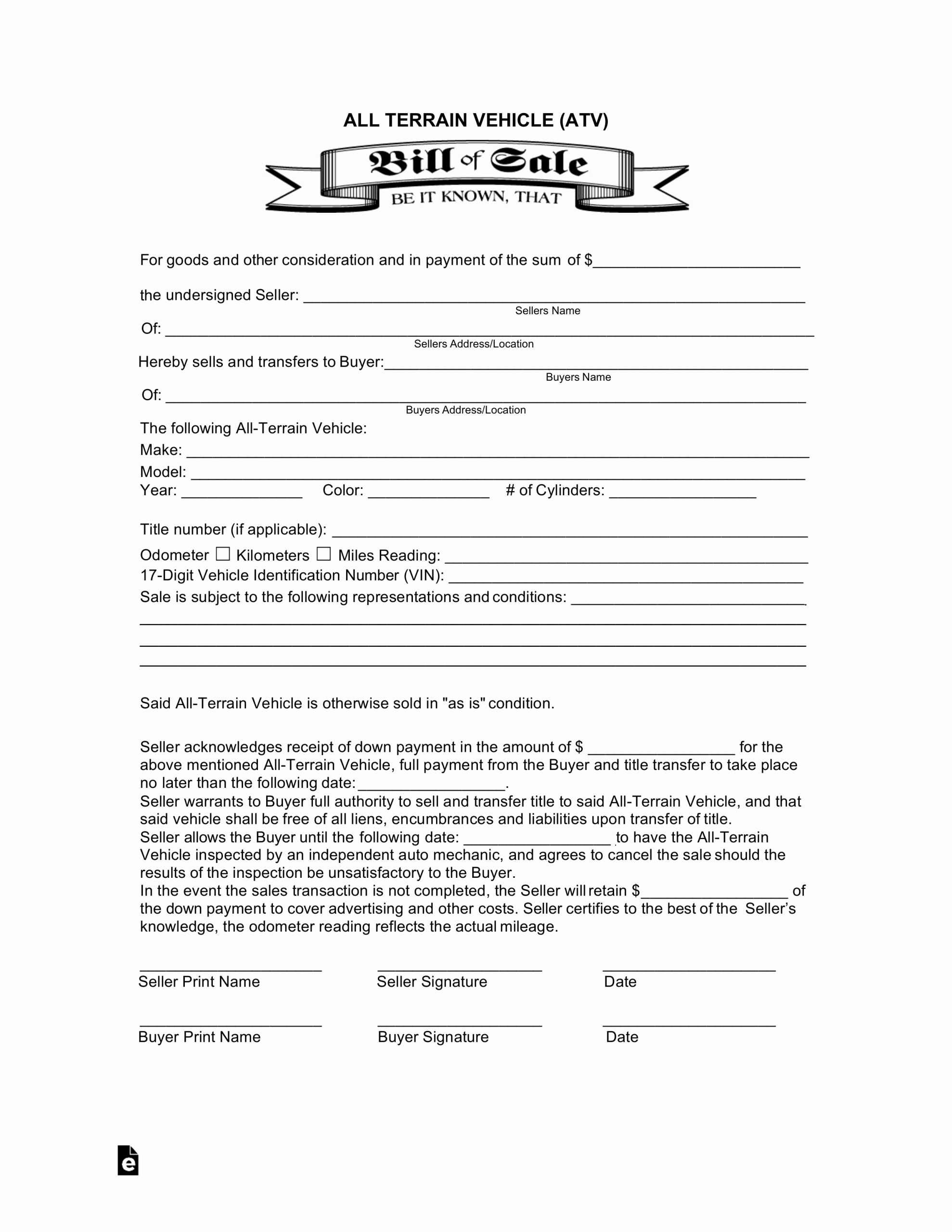 Alabama Vehicle Bill Of Sale Gift Awesome All Terrain Vehicle atv Bill Of Sale form